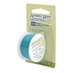 Artistic Wire, 26 Gauge Turquoise, 15 yd