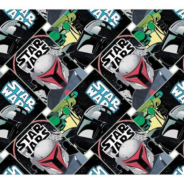 1 Yard Cut - Star Wars Mandalorian Allover Diagonal Patch Multi on Black