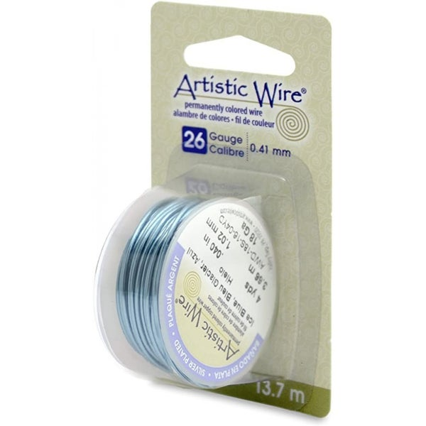 Artistic Wire- 26 Gauge Silver Plated Ice Blue, 15 yd