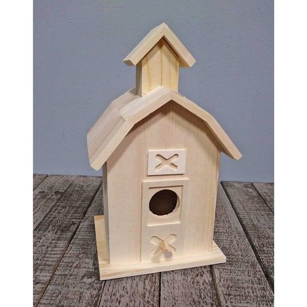Unfinished Wood Birdhouse Barn