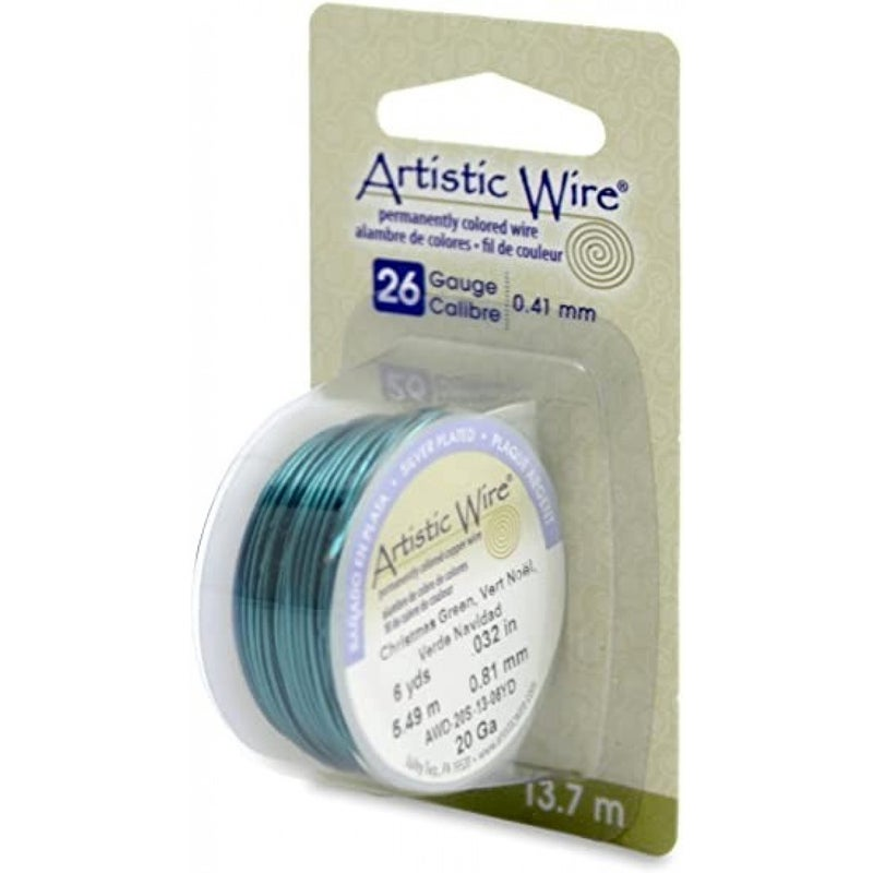 Artistic Wire- 26 Gauge Silver Plated Christmas Green, 15 yd
