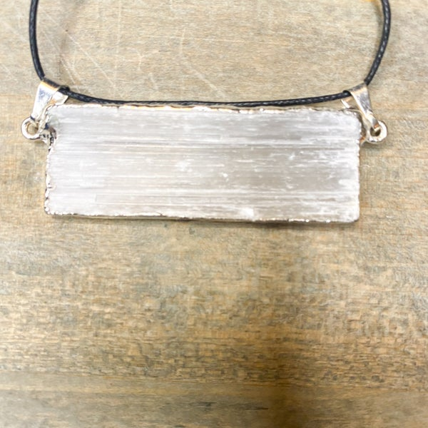 Pendant- Horizontal Selenite Pendant, Silver Plated