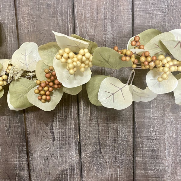 66 inch Eucalyptus  Leaf Garland with Berries