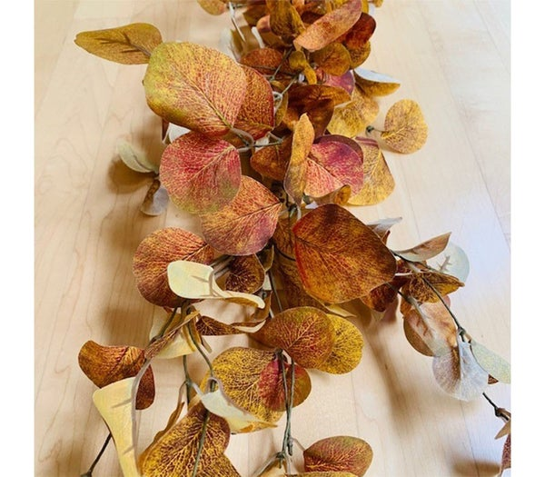 5 foot Fall Eucalyptus Orange and Brown Garland