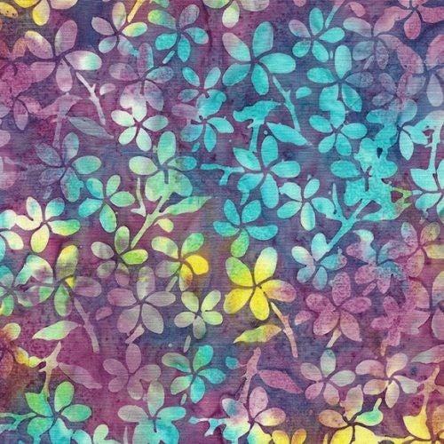 1 Yard Cut - Ohana Batik Plumeria Fabric, Mardigras