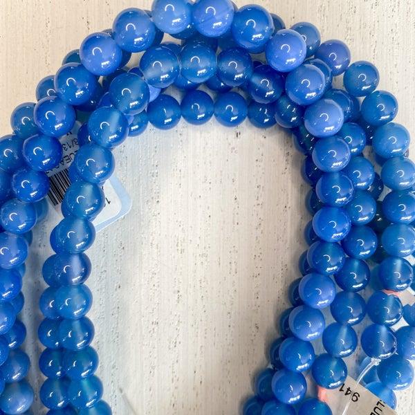 16 in. Gemstone Strand- 8mm Blue Agate