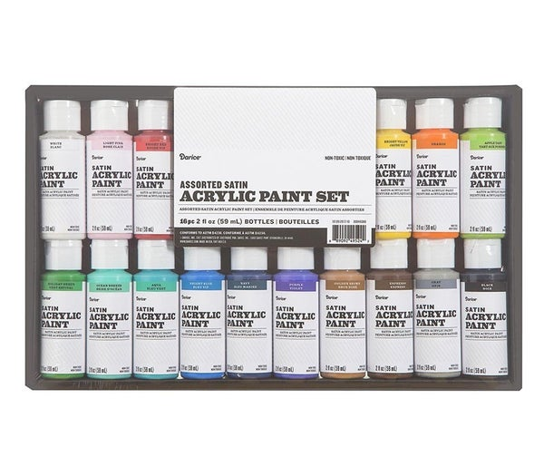 Acrylic Paint Set: Satin, 2 ounces, 16 pack