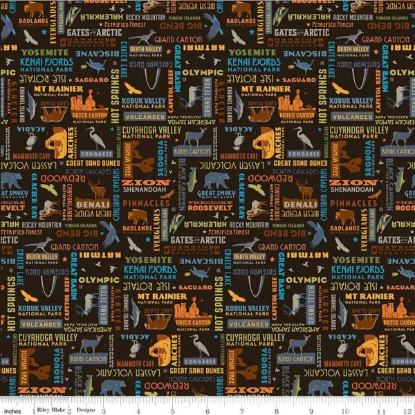 1 Yard National Parks Cut Fabric, Black National Parks Word Print