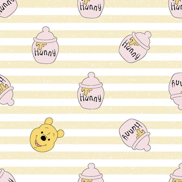 1 Yard Cut - Disney Winnie the Pooh Hunny Stripes Licensed Fabric