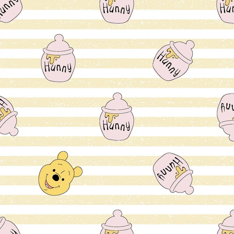 1 Yard Cut - Disney Winnie the Pooh Hunny Stripes Licensed Fabric
