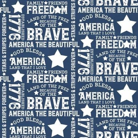 1 Yard Cut - Let Freedom Soar Allover Text on Blue - Riley Blake Designs