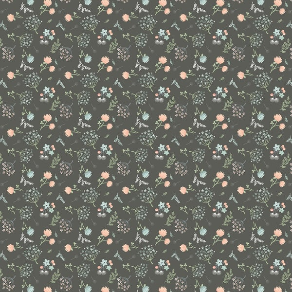 1 Yard Cut - Woodland Songbirds Florals Toss on Gray