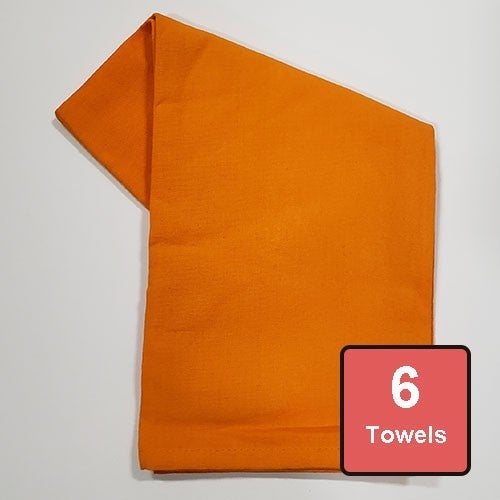 Pumpkin Orange Cotton Tea Towels 6pc