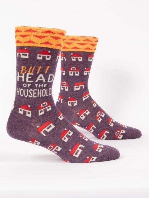 Butthead of the Household Men's Crew Socks, Blue