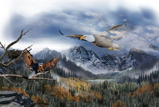 """43"""" x 30"""" Fabric Panel, Call of the Wild, Eagles"""