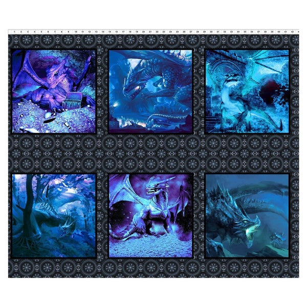 Dragons Horizontal Fabric Panel - Blue, 36 inches by 44 inches