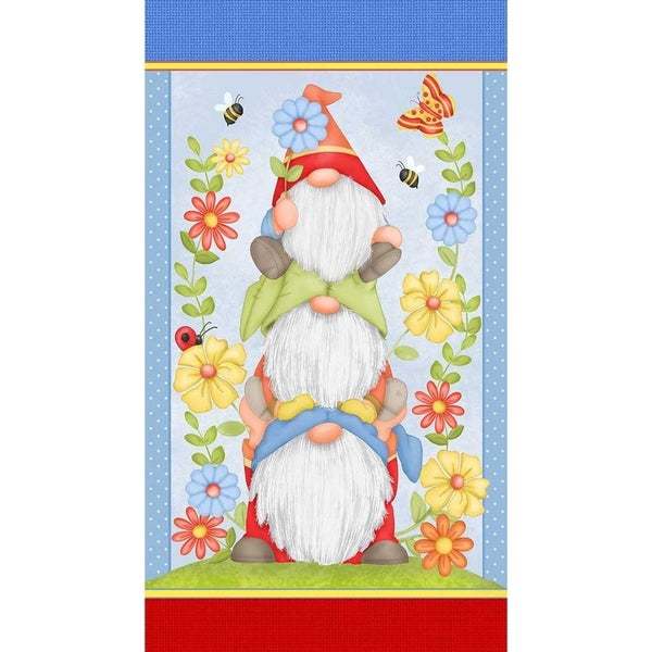 """Gnome is Where Your Garden Grows Gnome Trio Fabric Panel, 24"""" x 44"""" - Henry Glass Fabrics"""