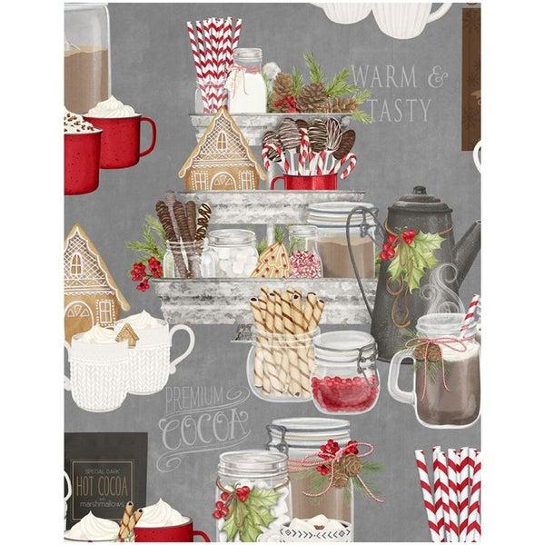 1 yard cut - Hot Cocoa Bar Large Allover Print - Gray