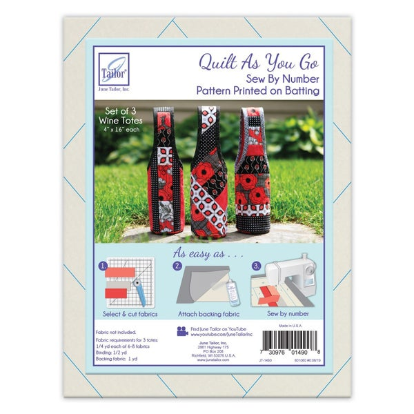 June Tailor Quilt as you Go Wine Bottle Carrier - 3 Patterns