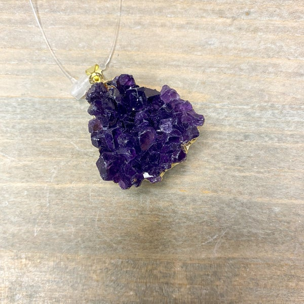 Pendant- Amethyst Druze Gold Plated
