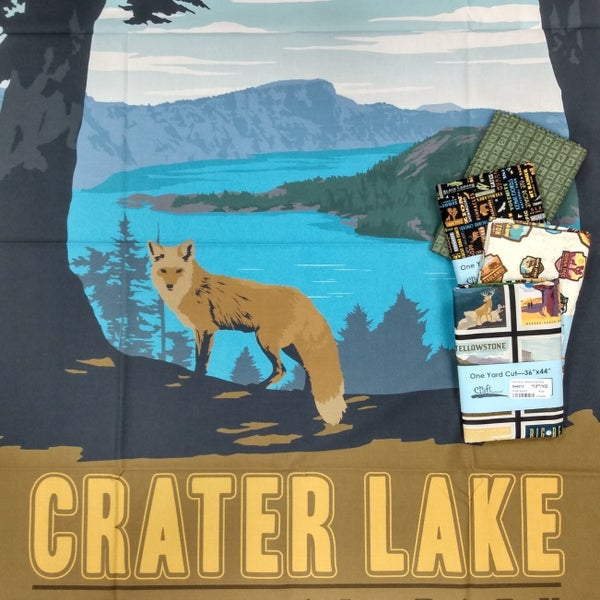 National Parks Crater Lake National Park Poster Panel and 4 Coordinating Prints Bundle