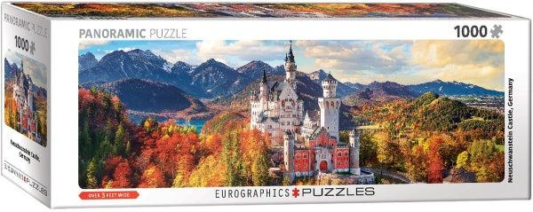 Neuschwanstein Castle in Autumn Panorama 1000-Piece Puzzle