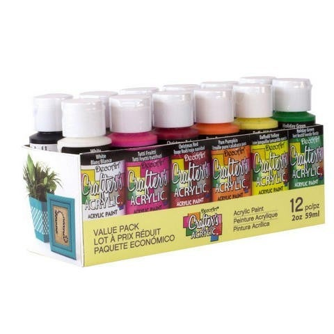 Crafters Acrylic Paint Value Pack - 12 Piece