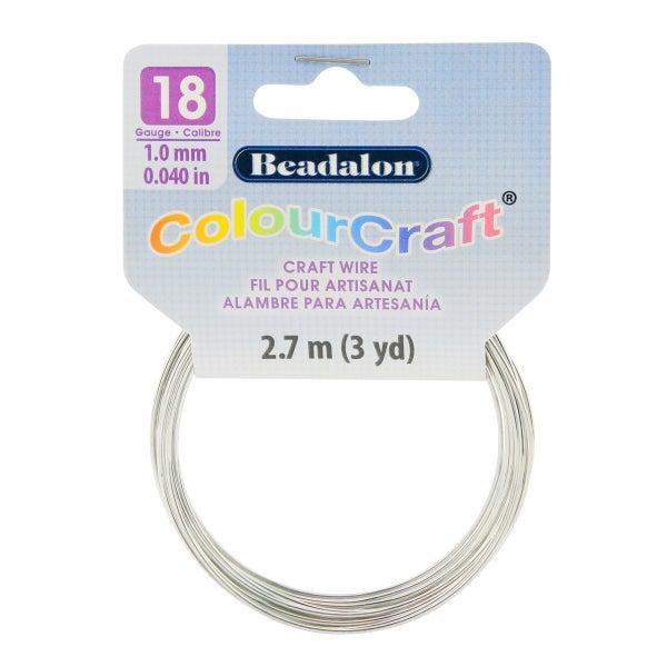 ColourCraft Wire- 18GA Silver Coil 3yd