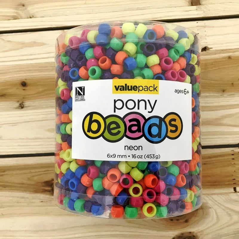 Assorted Neon Pony Beads Value Pack 16oz.