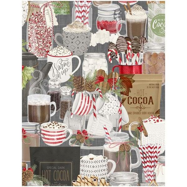 1 yard cut - Hot Cocoa Bar Packed Print Fabric- Gray