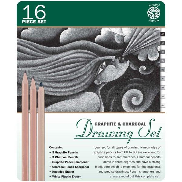 16 Piece Drawing Pencil Set in Metal Tin