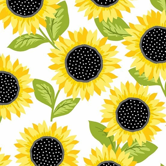 1 Yard Cut - Sunny Bee Sunflowers on White - Andover Fabrics