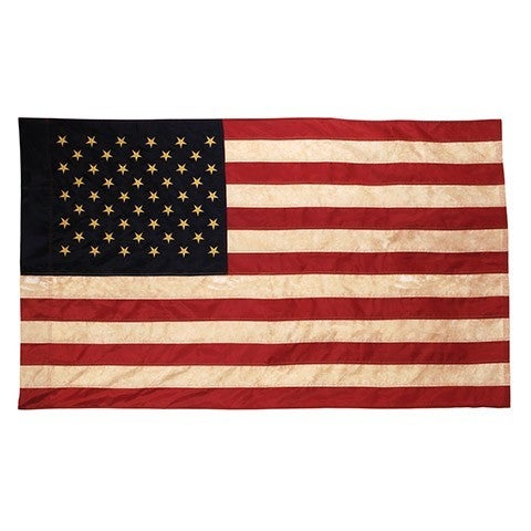 "36"" x 60"" Vintage Look, Tea Stained American Flag"