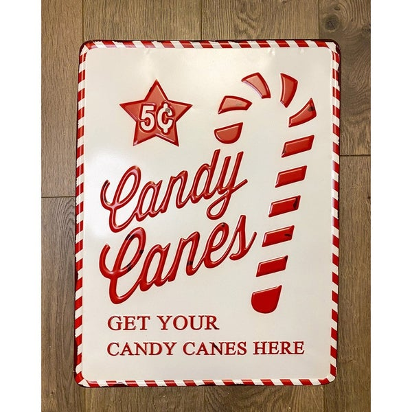 Enamel Candy Cane Sign