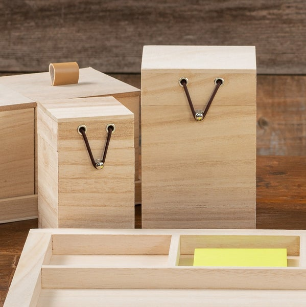 Unfinished Wood Box with Pull String - 2 Sizes