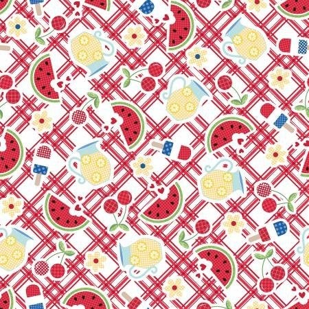 1 Yard Cut - Kimberbell Red White and Bloom Picnic Table Red - Maywood Studio Fabrics