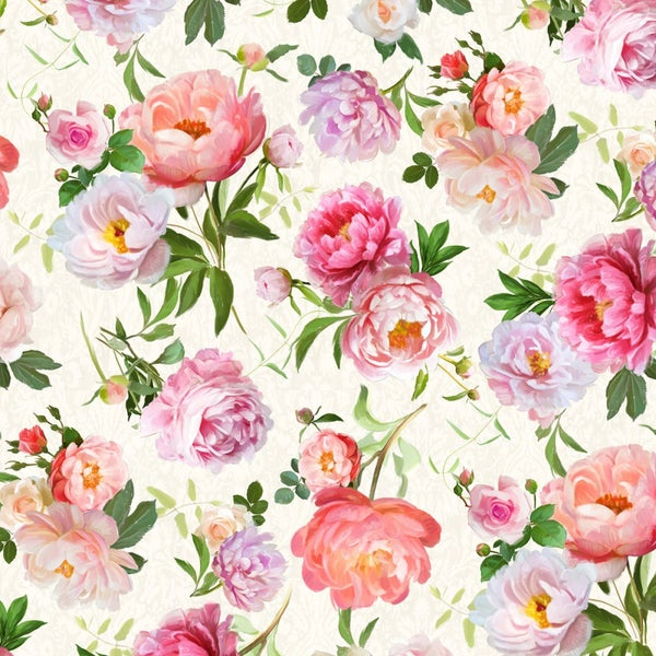1 yard Cut - Flower Study Floral Toss Cream - Wilmington Fabrics