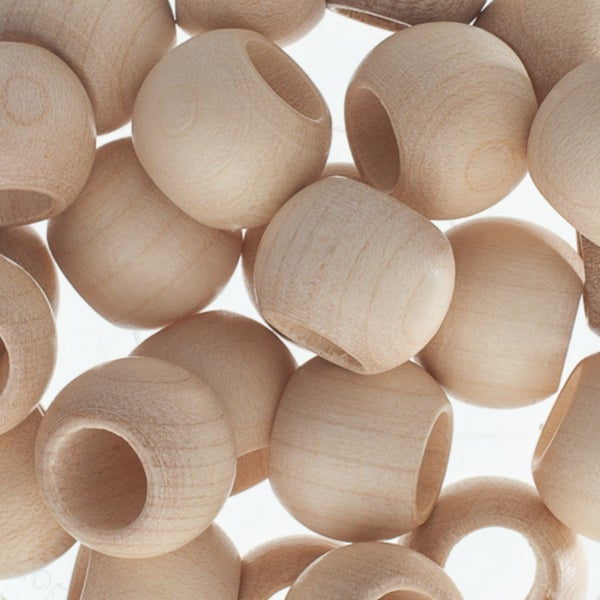 Round Large Hole Wood Beads, 14x11mm (three color options)