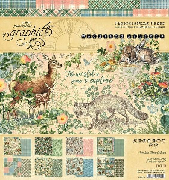 Woodland Friends 8x8 paper pad
