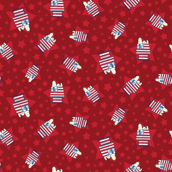1 Yard Cut - Snoopy Dog House on Red Licensed Fabric