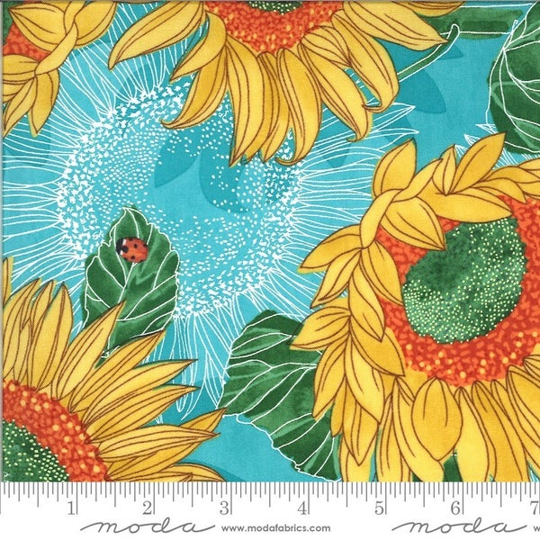 1 yard Cut - Solana Collection Sunflowers in Pond - Designed by Robin Pickens for MODA Fabrics