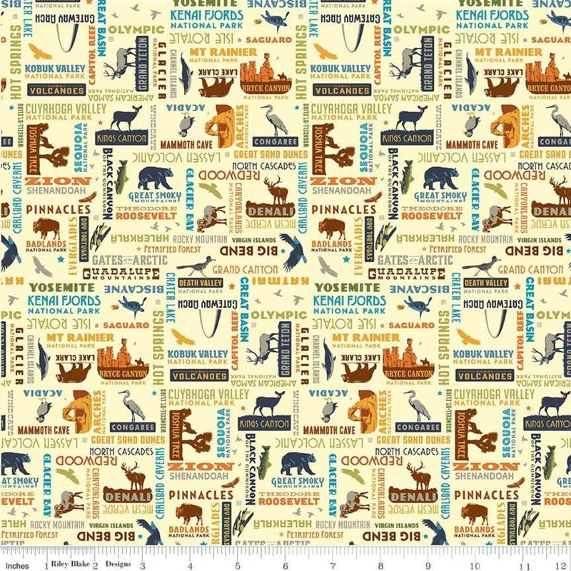 1 Yard National Parks Cut Fabric Panel, National Parks Word Print Cream