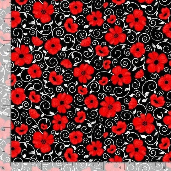 1 Yard Cut - You Make My Heart Happy Flowers and Vines on Black Fabric  - Timeless Treasures