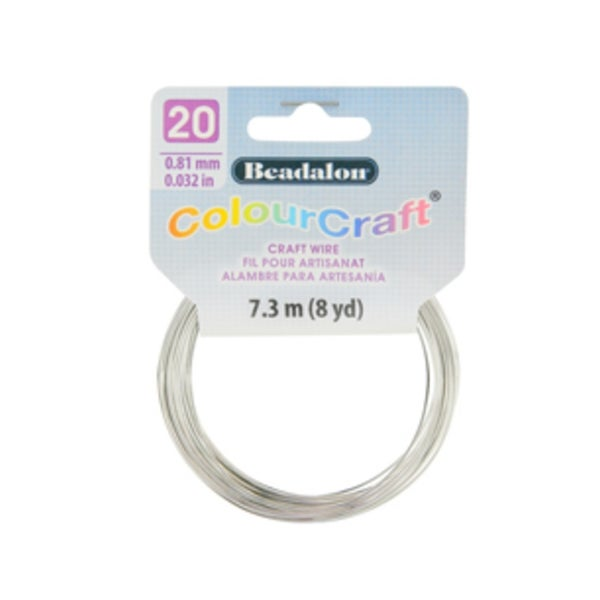 ColourCraft Wire- 20GA Silver Coil 8yd
