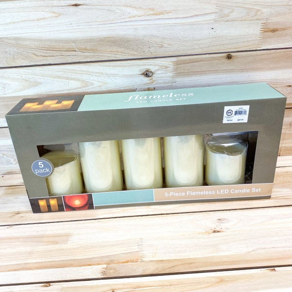 LED Candle set of 5- Ivory