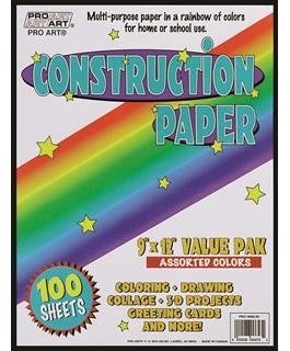 "Assorted Construction Paper, 9"" x 12"", 100/Sheets"