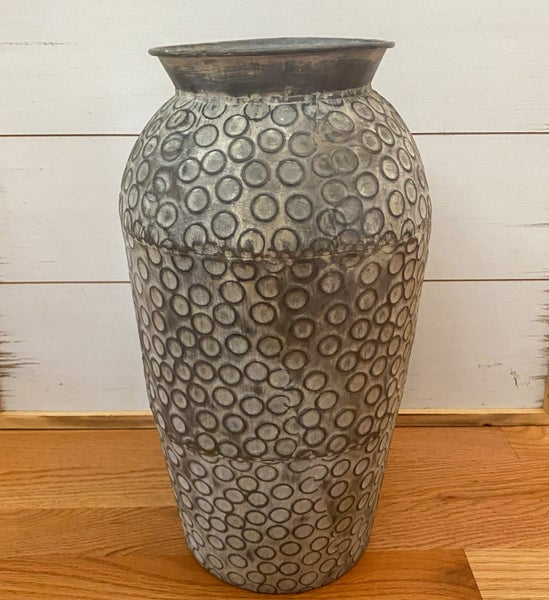 16 inch Galvanized Vase with Circle Pattern