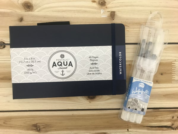 "5"" x 8"" Pentalic Aqua Journal and 3 pc Niji Watercolor Brush Set"
