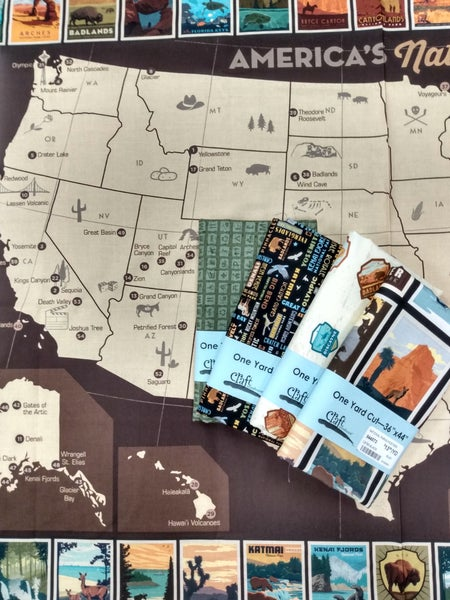 National Parks Map Panel and 4 Coordinating Prints Bundle