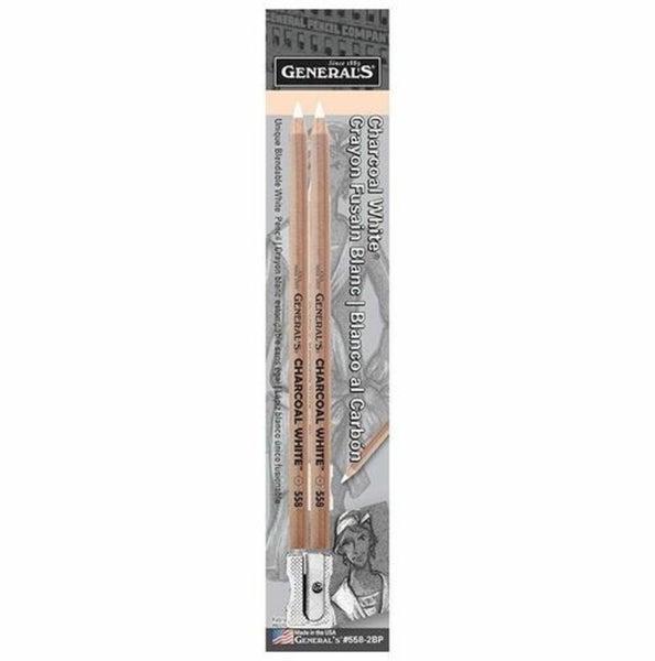 General's Charcoal White Pencils- 2pk